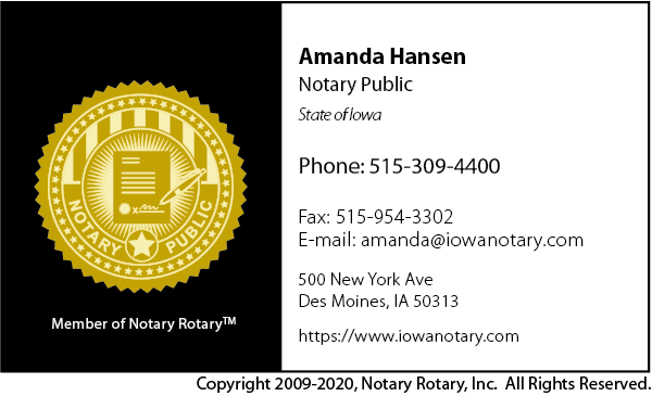 Iowa Notary Public Business Card